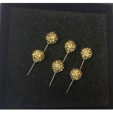 Auksines spalvos auskarai su kristaliukais