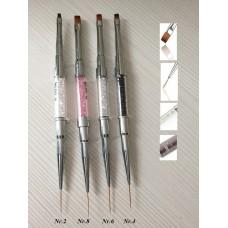 Dvipusis teptukas su kristalais geliui ir dizainui BLING (su kamštuku)